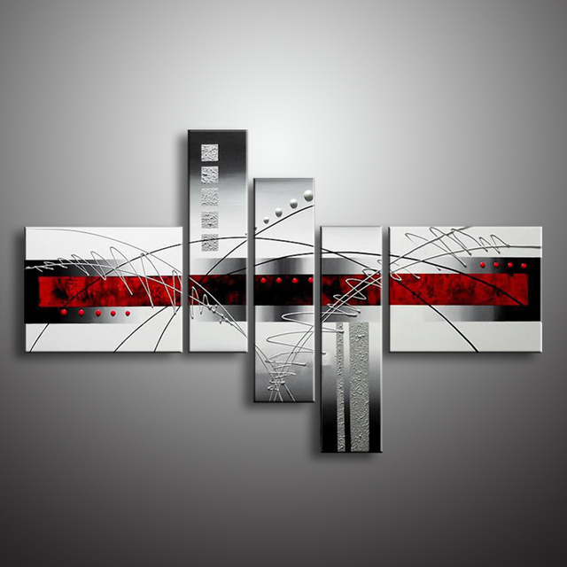 Wall Oil Painting Modern On Canvas Abstract Black White Pop Art Cheap Paintings Xd5-024