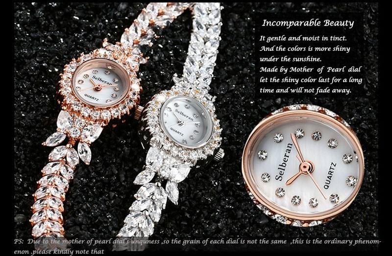 16 50M Waterproof Selberan Gold/Silver Natural Zircon Wrist Watch for Women Luxury Ladies Bracelet Watch Montre Femme Strass 3