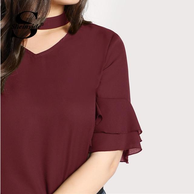 Sheinside Plus Size Burgundy Choker Neck Ruffle Sleeve Casual Blouse Women V Neck Cut Out Elegant Blouses 2018 Autumn Blouse 3