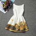 Retro England style Carriage painting patterns dresses sleeveless O-neck A-Line girls dress knee-length good quality clothes