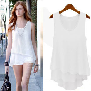 2013 summer new arrival fashion elegant candy color vest clip solid color chiffon shirt