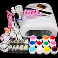 Nic-90 Pro Full 36W White Cure Lamp Dryer & 12 Color UV Gel Nail Art Tools Sets Kits