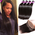 Straight Lace Frontal Closure With Bundles 3 Bundles With Closure Human Hair Brazilian Straight Virgin Hair Frontal With Bundles