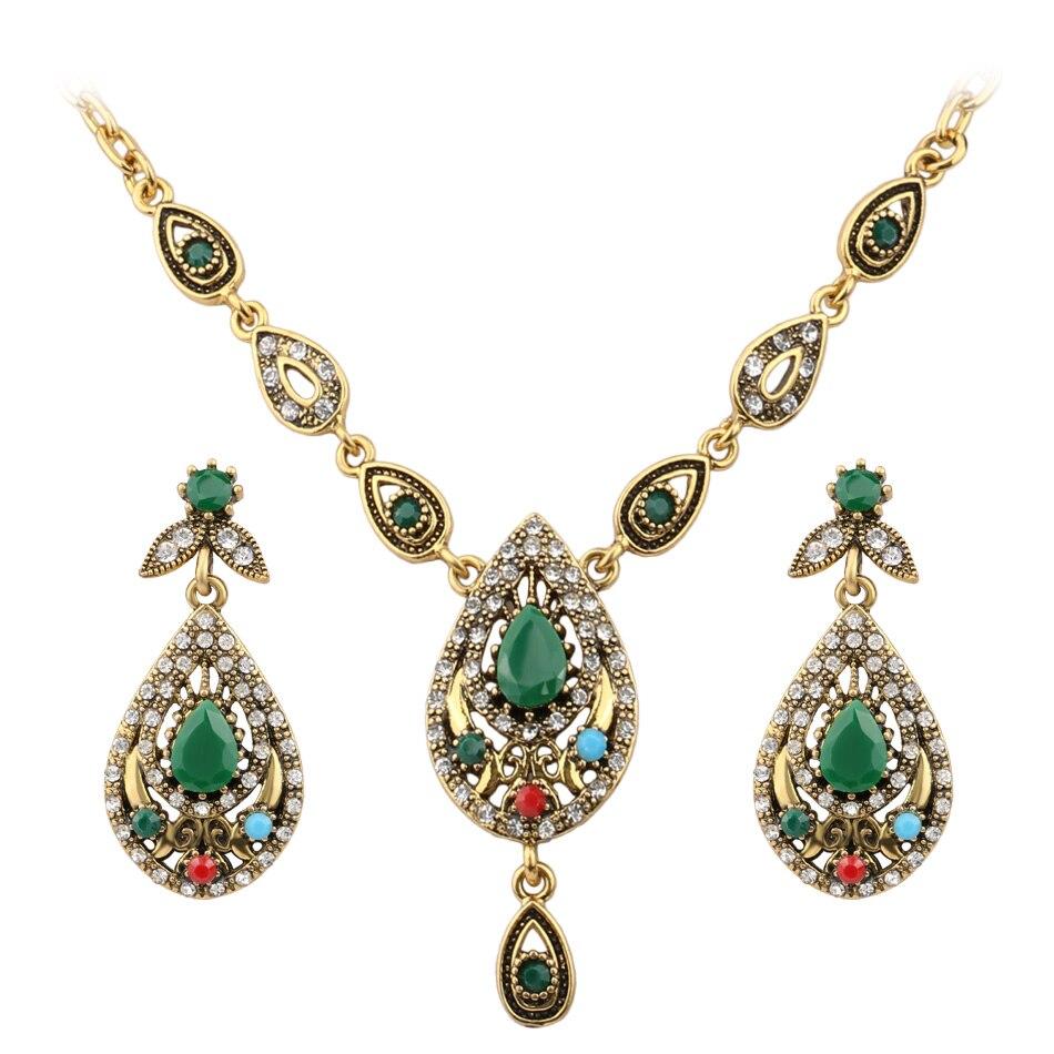 Indian Jewelry Set Elegante Gotas De Agua Joyería de Fantasía Collar de Sistemas