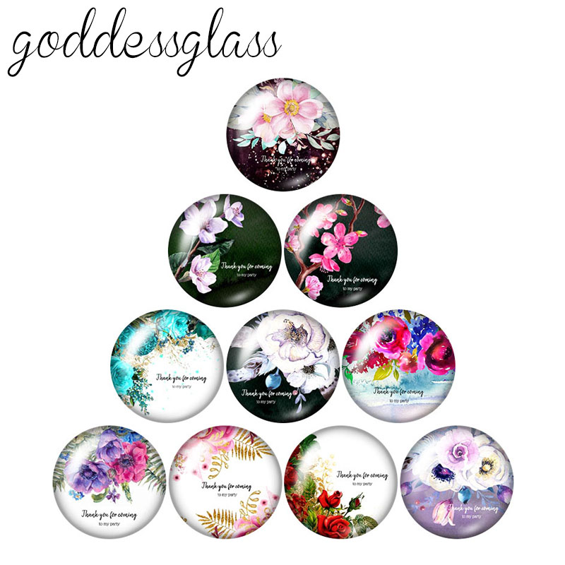 Thanks Love Flowers Patterns 10pcs Mixed 12mm/18mm/20mm/25mm Round Photo Demo Glass Cabochon Flat Back Making Findings
