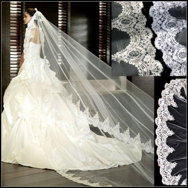 3 meter white ivory cathedral wedding veils long lace edge bridal veil with comb wedding accessories wholesale
