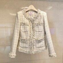 JSXDHK, небольшой аромат, роскошная женская куртка с кисточками, пальто, подиум, Осень-зима, твид, бисер, жемчуг, тонкая, бахрома, переплетенное пальто