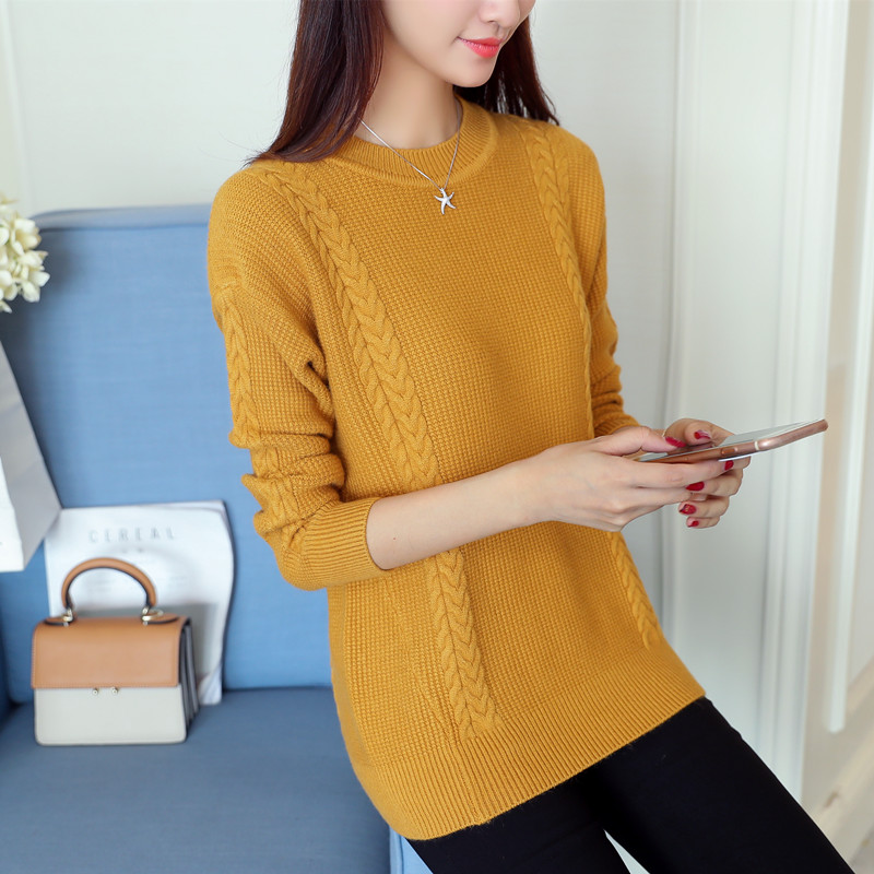 Sweater autumn/winter 2017 sets the new female relaxed joker round collar show thin thick knitted render unlined upper garment