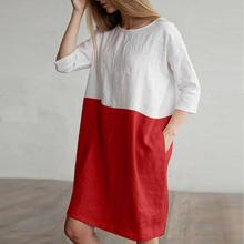 Dress Oversize Loose Pockets Tunic Women 2019 Casual Patchwork 1/2 Sleeved Cotton Linen