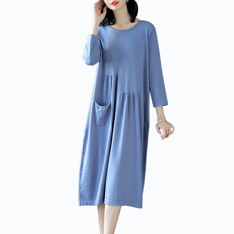 2019 femmes mode o-cou mince pull robe grande taille lâche décontracté tricot coton robe automne bleu robe femmes