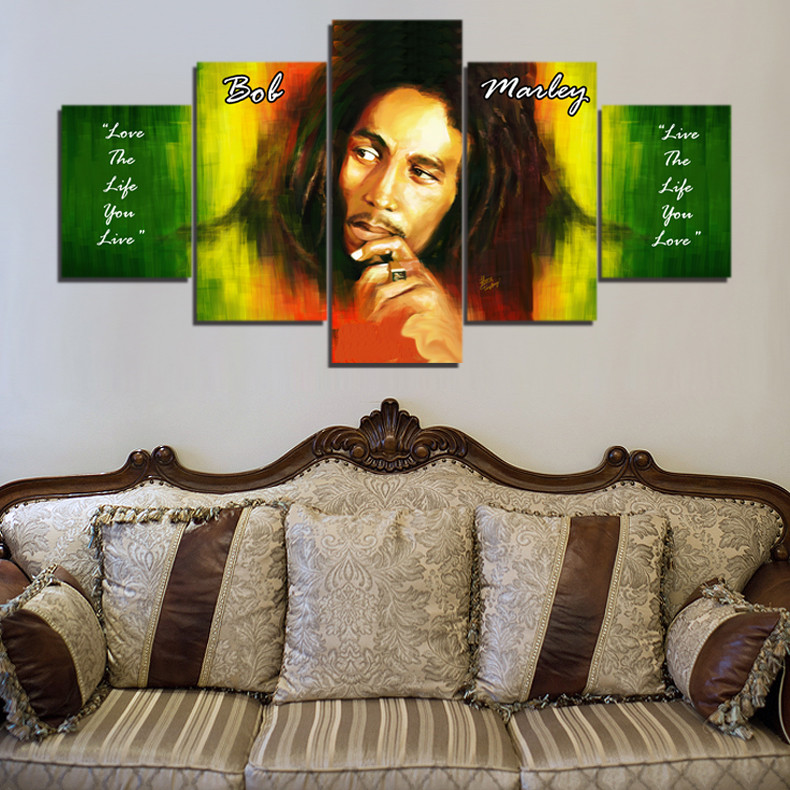 Bob Marley HD Canvas Painting Wall Art Game 5 Pieces Prints Home ...