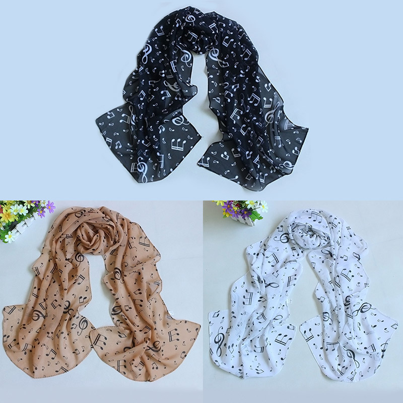 ACC Shawl Wrap Women Scarf Music Note Printed Lady Chiffon Silk Scarf Apparel & Accessories Fashion H9