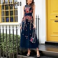 Affogatoo Elegant embroidery mesh long dress Sexy floral sleeveless women dress Vest evening party summer dress female