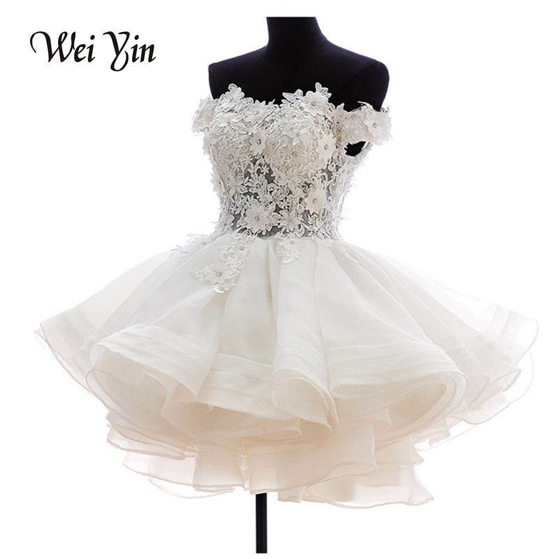 weiyin Real Samples New White Short Wedding Dresses The Brides Lace Wedding Dress Off The Shoulder Zipper Organza Wedding Dress