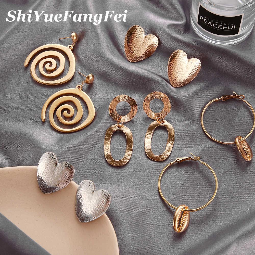 ZA Statement Metal Drop Earrings Trendy Jewelry Elegant Big Geometric Dangle Pendant Earring For Women Mexed EARRINGS