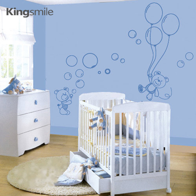 Modern Little Bears Balloons Nursery Wall Stickers Removable ...