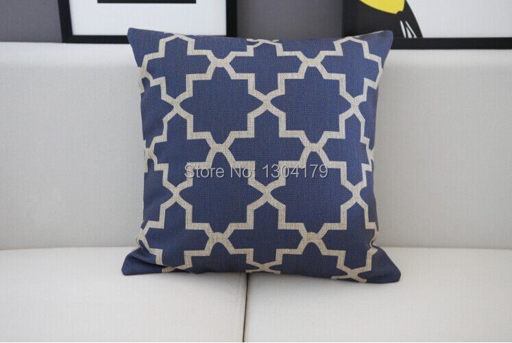 Hot Australia Navy Blue Wave pattern cushion Blue cotton Pillow