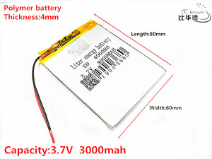 Liter energy battery Good Qulity 3.7V,3000mAH 406080 Polymer lithium ion / Li-ion battery for tablet pc BANK,GPS,mp3,mp4