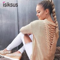 Isiksus Vintage Sexy Sweater Women Winter Female Lace Up Sweater Knitted Women Pullovers And Sweaters Ladies for Jumpers SW015