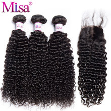 Mi Lisa Kinky Curly Hair With Closure 3 Bundles Malaysian Curly Human Hair Bundles With Closure Remy Curly Bundles With Closure