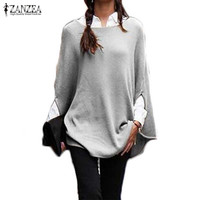 ZANZEA Women Sweater 2017 Autumn Fashion Pollover Casual Loose Batwing Sleeve Pullovers Sexy Jumper Plus Size