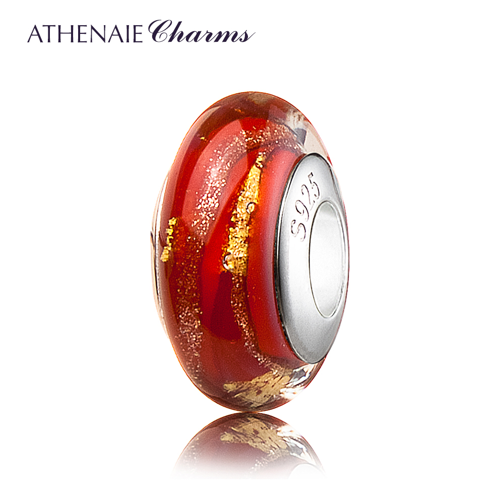 ATHENAIE Genuine Murano Glass 925 Silver Core Red Hot 18KT Gold Foill Fit All European Bracelets and Necklace Charms Beads