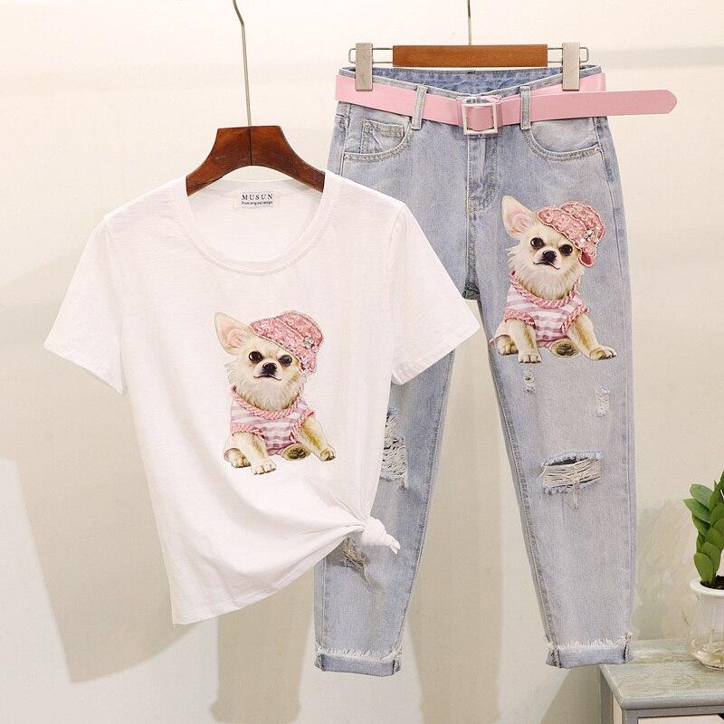 Vêtements d'été fille étudiants 2018 nouveau Sequin dessin animé chien à manches courtes T-shirt & Vintage trou Jeans ensemble deux pièces costume femme