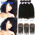 Bling Hair Mongolian Curly Hair With Closure 4 Bundles Mongolian Human Hair Weave Mongolian Kinky Curly Virgin Hair With Closure
