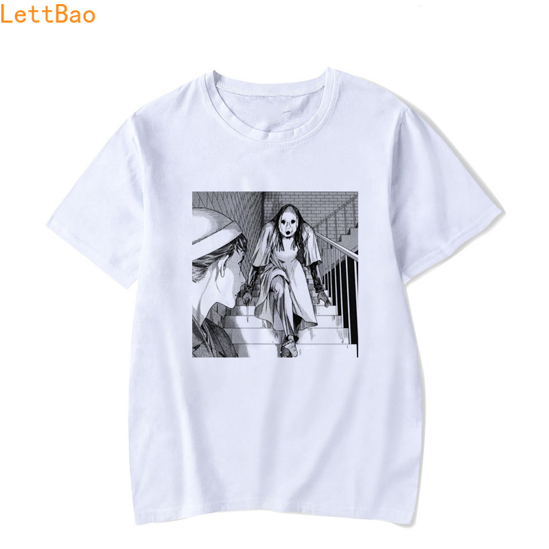 Horror Manga Junji Ito T Shirt Men Shintaro Kago Girl Tee Shirt Homme Summer Tops Men's White Cotton Short Sleeve Couple Clothes