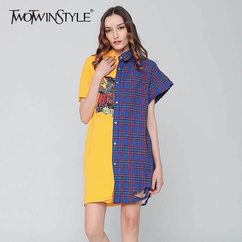 TWOTWINSTYLE Casual Dress Female Patchwork Plaid T-shirt Mini Summer Dresses for Women Tunic Big Sizes Spring Clothes Korean