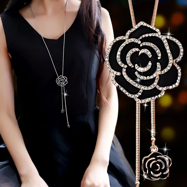 BYSPT Black Rose Flower Panjang Kalung Sweater Rantai Mode Crystal Flower Pendant Kalung