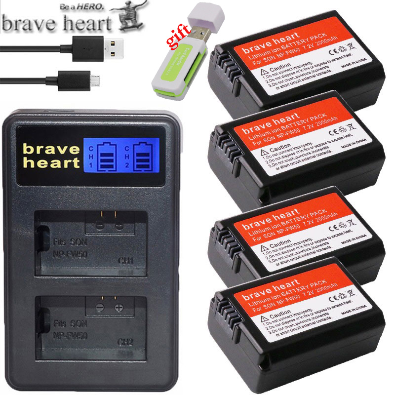 4pc NP-FW50 NP FW50 FW50 Battery+LCD USB Dual Charger For Sony A6000 5100 A3000 A35 A55 A7s II Alpha 55 Alpha 7 A72 A7R Nex7 NE