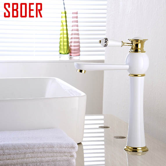 Hot And Cold water  Mixer Tap Solid Brass ceramic  Basin Faucet  gold  White Painting Bathroom sink Faucet