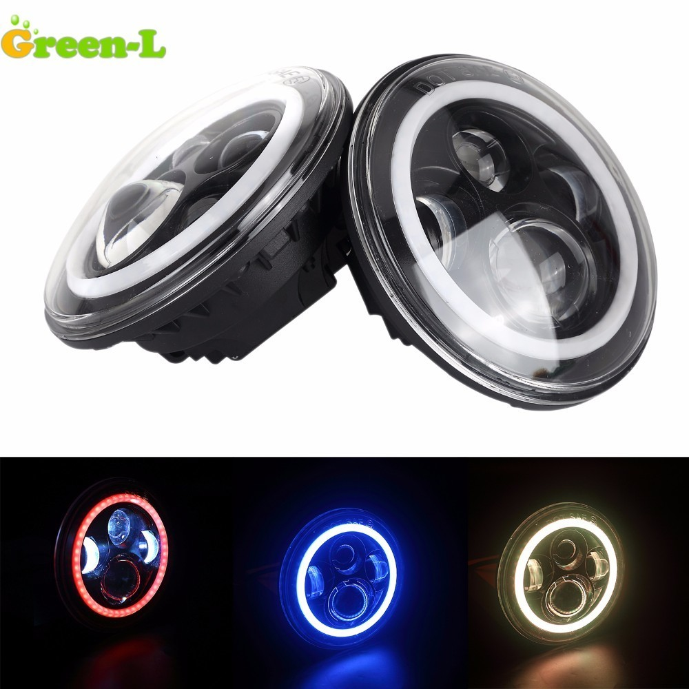 Green-L 2pcs 7inch 90W LED Headlight For Jeep Wrangler JK FOR Harley led moto high/low Beam light led angel eyes for motorcycle 7inch round halo headlights 45w wrangler jk high low beam headlamp 7 angel eyes projector head light for jeep land rover