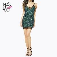 High Quality Women Dress Summer 2018 Mesh Splicing Sequin Dress Green Paillettes Dresses Vestido Lentejuelas Ropa