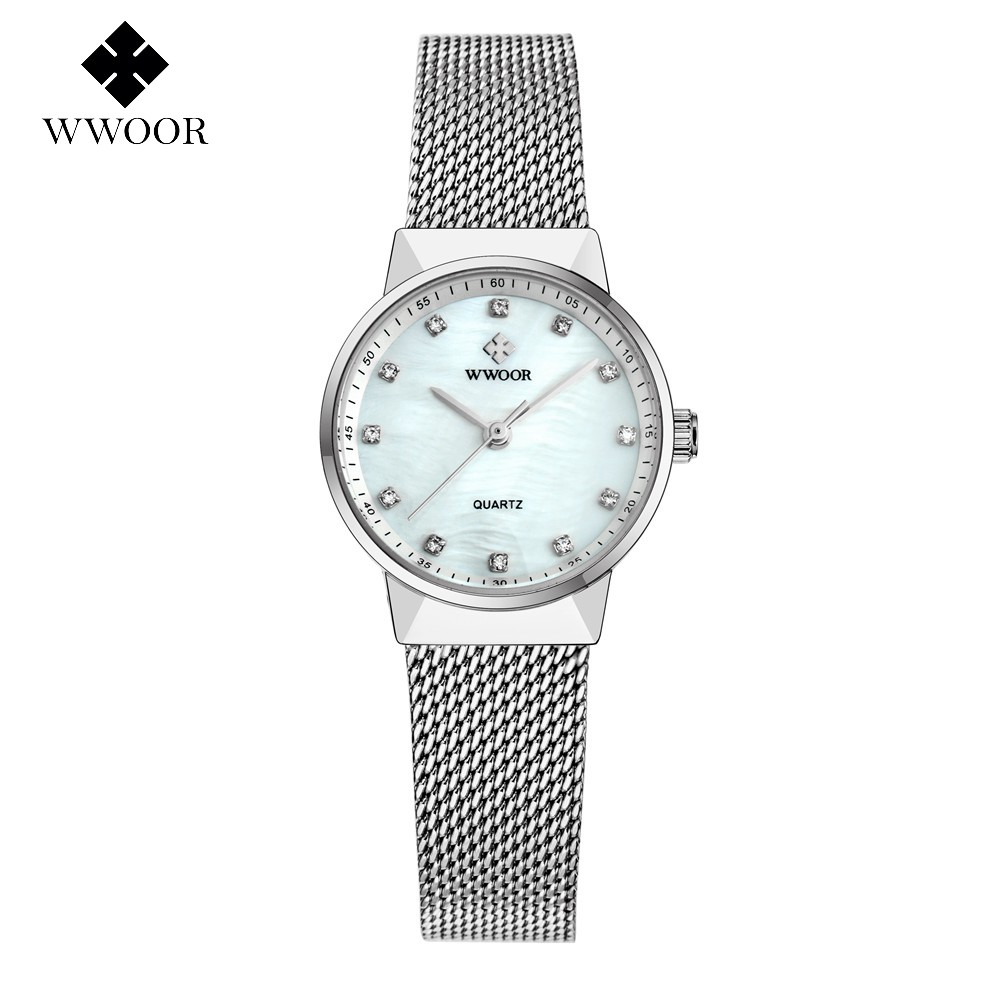 WWOOR Ladies Famous Wristwatch Female Wrist Watch Women Brand Quartz Watch Girl Quartz-watch Montre Femme Relogio WR8825-White sanda gold diamond quartz watch women ladies famous brand luxury golden wrist watch female clock montre femme relogio feminino