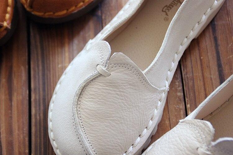 chocolat Cuir Nouveau Plat Vintage À noir Blanc Mou Beige Art En Chaussures Étudiant Fond Sen Simples SHnUxgqRH