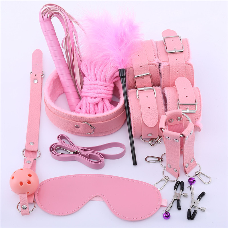 10 Pcs/set Sexy Lingerie PU Leather bdsm Bondage Set <font><b>Sex</b></font> <font><b>Hand</b></font> Cuffs Footcuff <font><b>Whip</b></font> Rope Blindfold Erotic <font><b>Sex</b></font> Toys intimate goods image