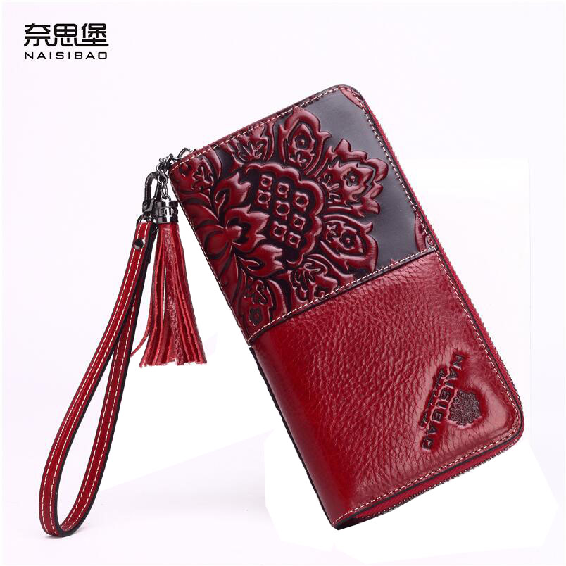 ФОТО Famous brand top quality Cow Leather women bag  new fringed long wallet Retro Chinese style hand ring embossed stitching package