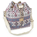 Faux Pearl Letter Embellishment Print Pattern Bucket Multi Purposes Tote Shoulder Crossbody Bag for Lady