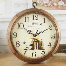 Reloj de pared de madera creativo Seling sala de estar Reloj de pared Vintage Silly doble cara silencioso Relojes de pared de cuarzo Europa decoración del hogar 50A0986(China)