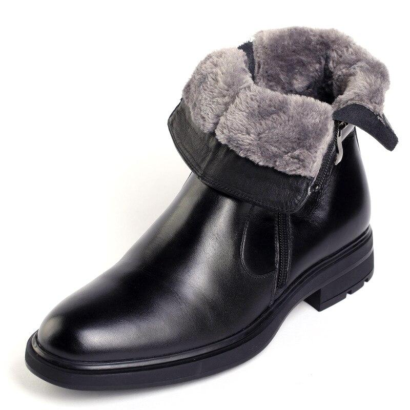 Gli uomini di Inverno Stivali Caldi del Cuoio Genuino di Modo Scarpe Da uomo Classiche Lace-up scarpe A Punta Da Uomo Adolescenti di Affari Del Partito solido Nero Scarpa