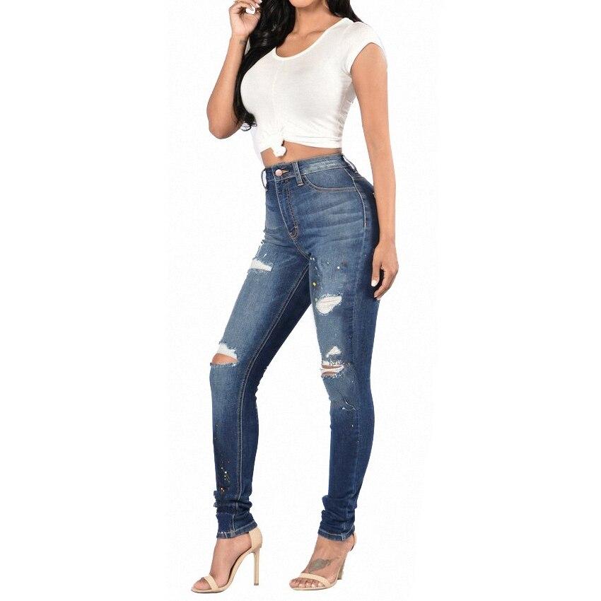 ФОТО Women pants Casual jeans female Apparel Elasticity jeans denim vintage blue hole jeans for girl mid waist plus size s-3xl