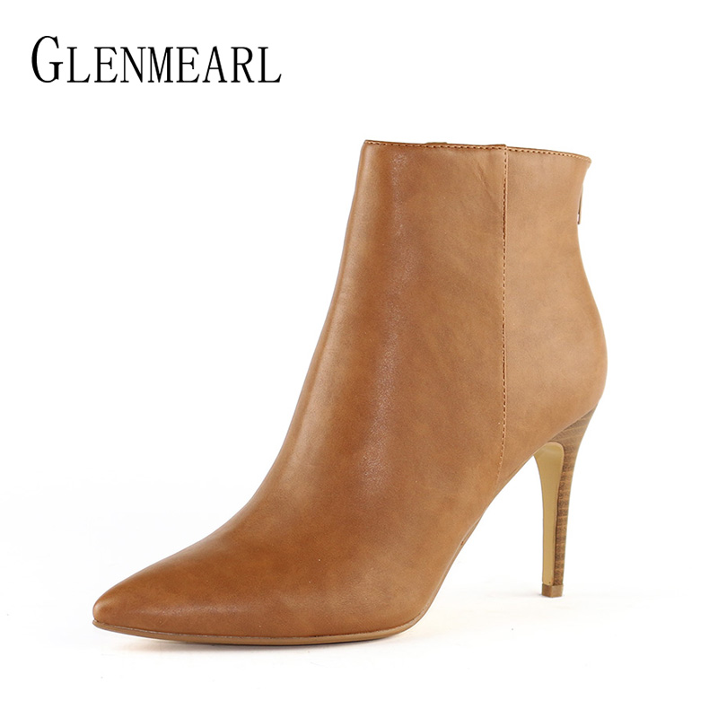 Black Leather Women Boots Shoes Winter Brand High Heels Ankle Boots Woman Zip Pointed Toe Sexy Short Boots Female Plus Size CE