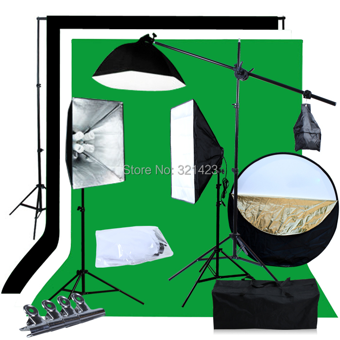 3 Kit BW Backdrop Support Stand Photography Studio Video Softbox Lighting ashanks small photography studio kit