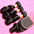 7a Brazilian Virgin Hair with Closure Human Hair Brazilian Loose Wave with Closure Brazilian Hair Weave Bundles with Closure