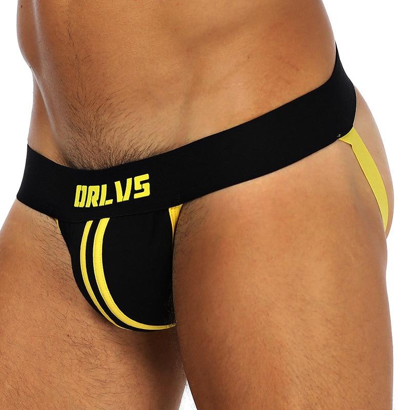 ORLVS Brand Men Jockstraps Gay Underwear Sexy Men Underwear Penis Pouch Push UP Men Thong String Homme Tanga Hombre
