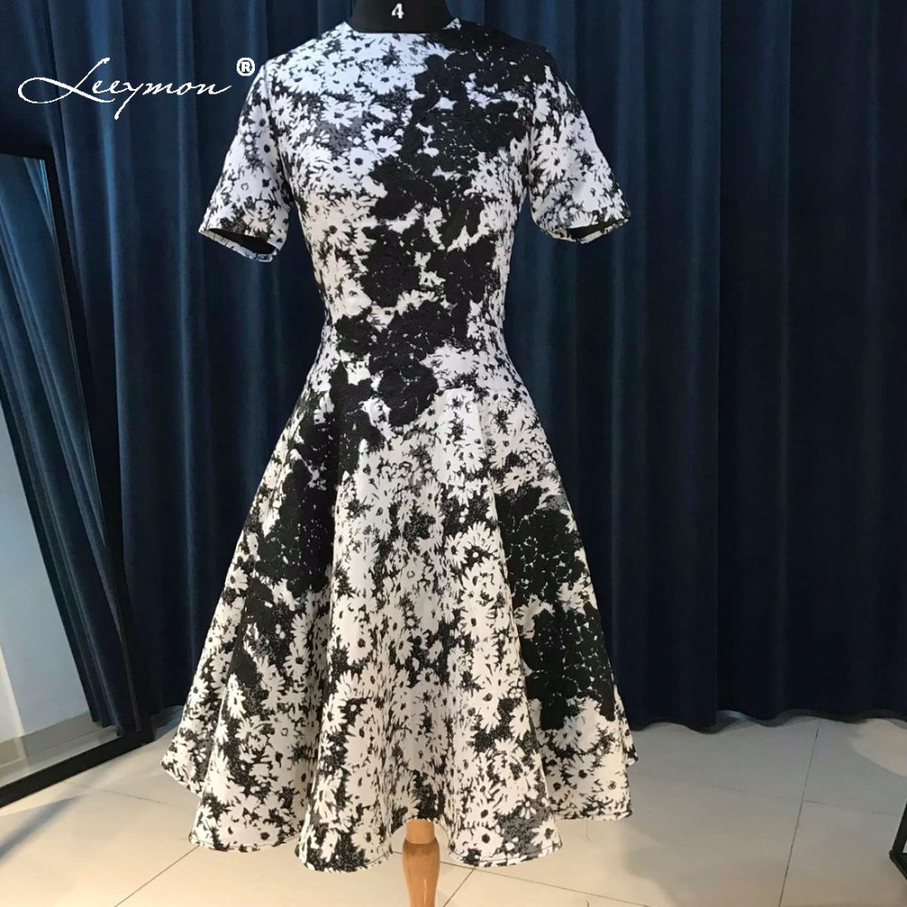 Leeymon Short Sleeves Floral Print Mother Of the Bride Dress Knee Length Cocktail Dress Black and White Mother Dress LY7231