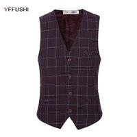 New Latest Design Men Vest Classic Purple Grey Plaid Wedding Grooming Casual Best Men S Blazer