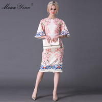 MoaaYina Fashion Designer Runway Midi Classical Dress Summer Women Speaker sleeve Applique Floral Print Slim Retro Elegant Dress